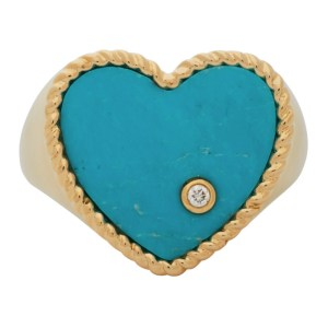 Yvonne Leon Gold and Blue Coeur Signet Ring