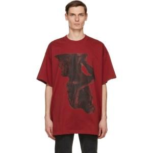 Johnlawrencesullivan Red Oversized Print T-Shirt