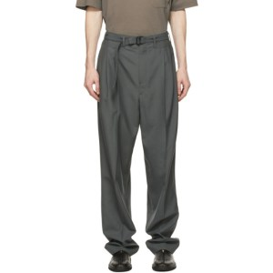 Lemaire Grey Wool Belted Pleat Trousers
