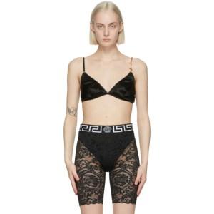Versace Underwear Black Silk GV Signature Bra