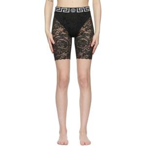 Versace Underwear Black Lace Greca Border Shorts