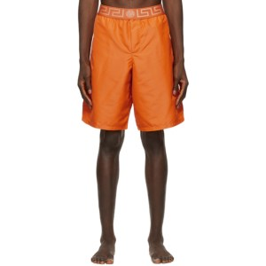 Versace Underwear Orange Greca Border Long Swim Shorts