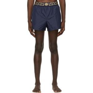 Versace Underwear Navy Greca Border Swim Shorts