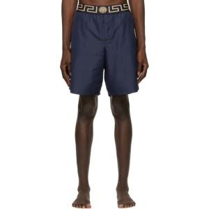 Versace Underwear Navy Greca Border Long Swim Shorts