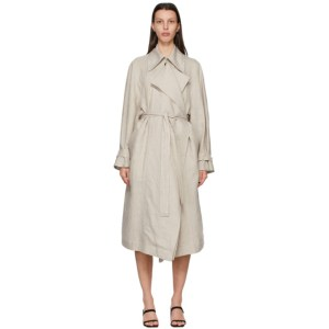 LOW CLASSIC Beige Linen Trench Coat