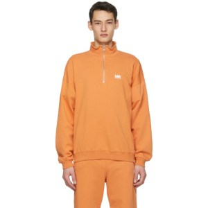 M.A. Martin Asbjorn Orange Turtleneck Half-Zip Sweatshirt