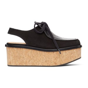 Loewe Black Lace-Up Wedge Loafers