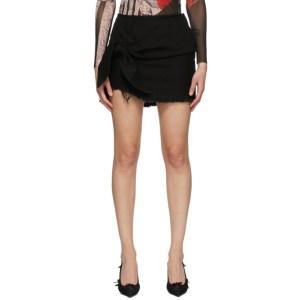Marques Almeida SSENSE Exclusive Black Knotted Mini Skirt