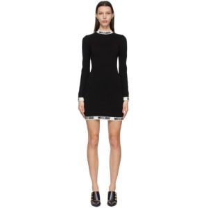 Moschino Black Wool Knit Logo Band Dress