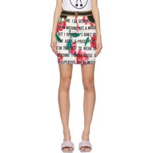 Moschino White Gabardine Slogan Flowers Short Skirt