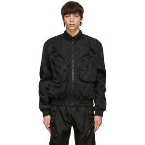 Moschino Black Satin Bomber Jacket