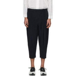 Homme Plisse Issey Miyake Navy Cropped Basics Trousers