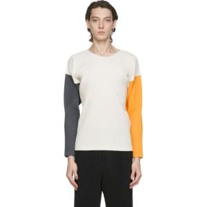 Homme Plisse Issey Miyake Beige Pleated Tricolor Quartet Long Sleeve T-Shirt