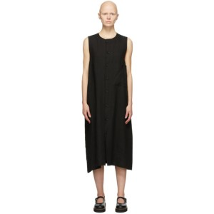 Ys Black Linen Pocket Mid-Length Dress