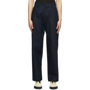 Ys Navy U-Side Stripe Jeans