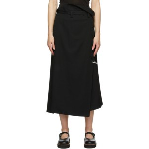 Ys Black Double Belt Wrap Skirt