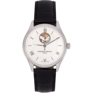 Frederique Constant Silver and Black Classics Heart Beat Automatic Watch