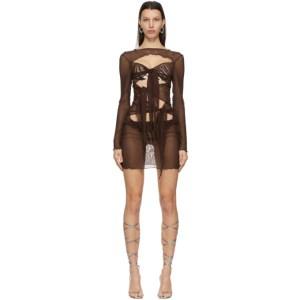 KIM SHUI SSENSE Exclusive Brown Mesh Multi Tie Dress