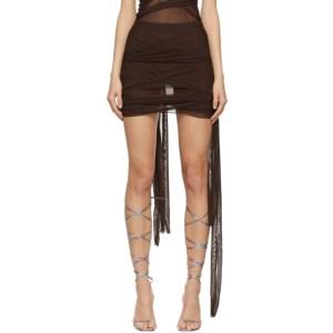 KIM SHUI Brown Mesh Tie Skirt