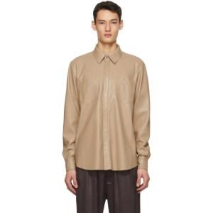 Nanushka Taupe Vegan Leather Declan Shirt