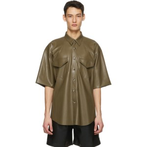 Nanushka Khaki Vegan Leather Nelan Shirt