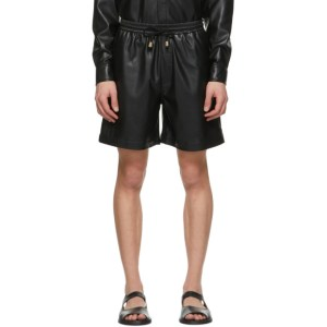 Nanushka Black Vegan Leather Doxxi Shorts