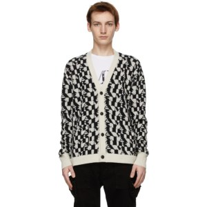 AMIRI Black and Off-White All-Over Logo Cardigan