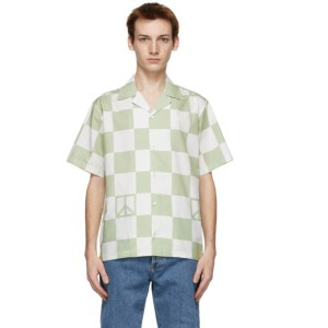 Saturdays NYC White and Green Canty Peace Short Sleeve Shirt