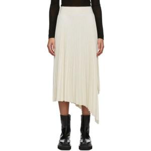 Joseph White Swinton Pleated Ribbed Skirt