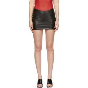 MISBHV Black Faux-Leather Trinity Miniskirt