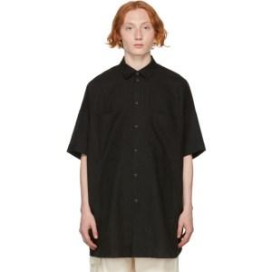 Jan-Jan Van Essche Black Linen and Paper Short Sleeve Shirt