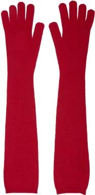 MM6 Maison Margiela Red Long Wool Knit Gloves