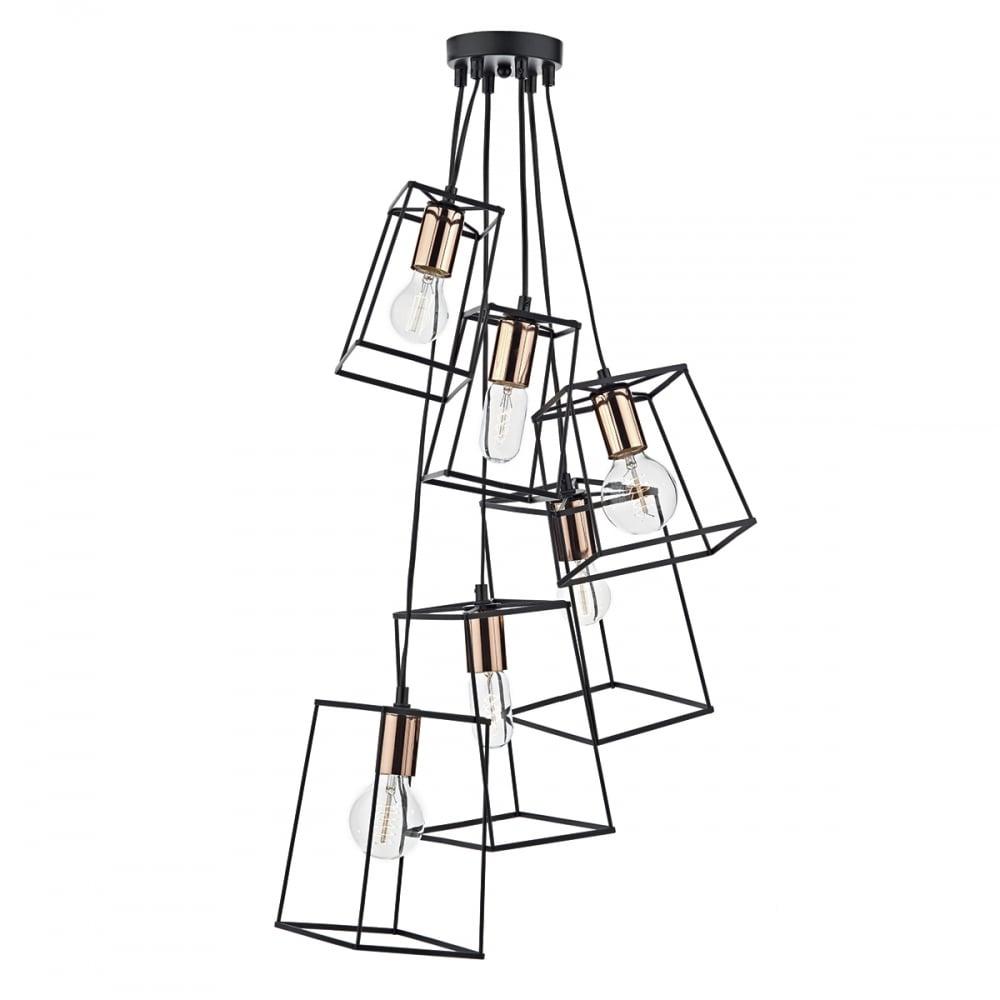Trouva: Black & Copper Cluster Tower 6 Pendant Light