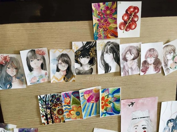 My ATCs captured by Maggie.