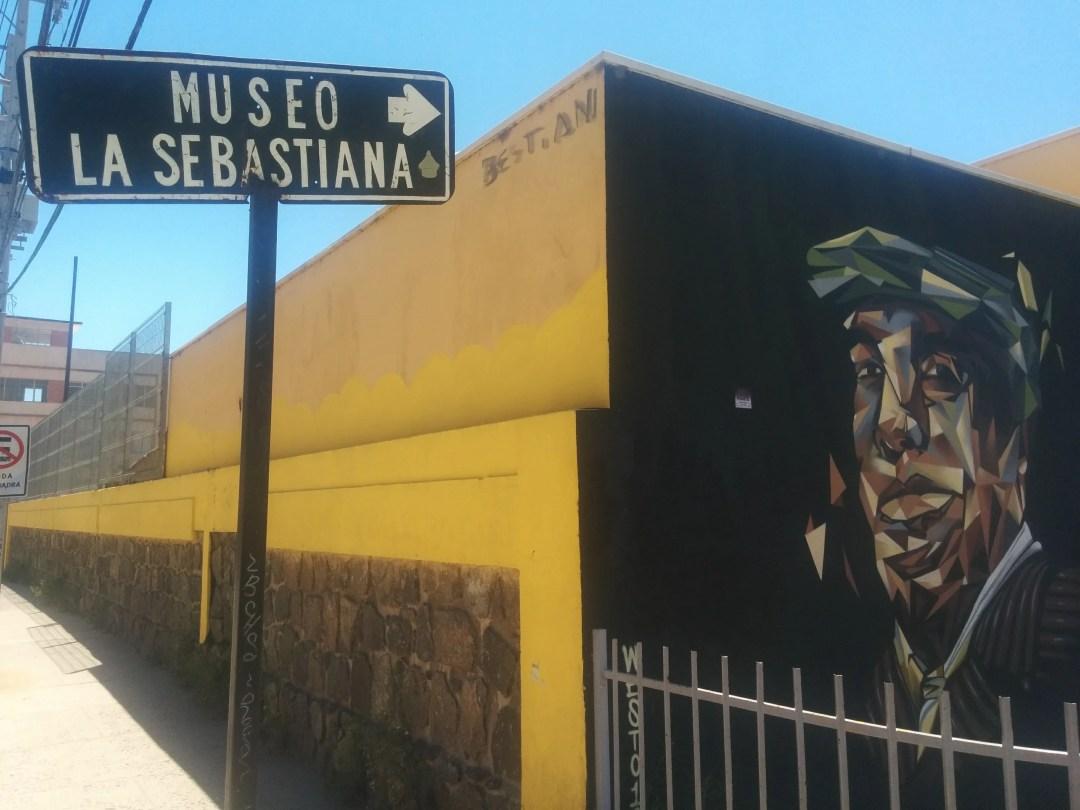 Museo La Sebastiana sign and mural
