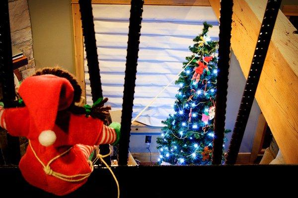 Elf on a zip wire