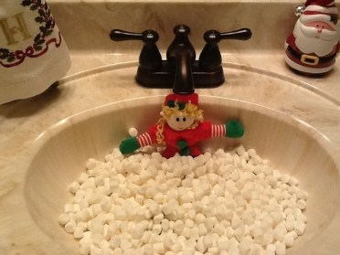 taking a marshmallow bubble bath