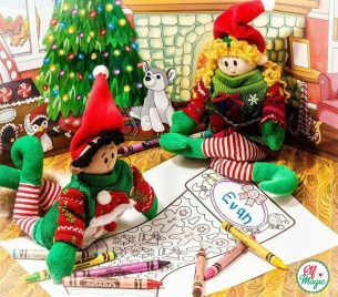 Elf Magic Elves coloring stocking