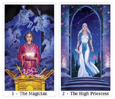 magician and high priestess from sacred isle tarot