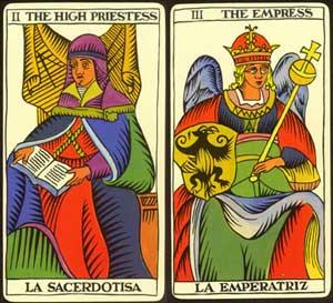 high priestess and empress from tarot de marseille