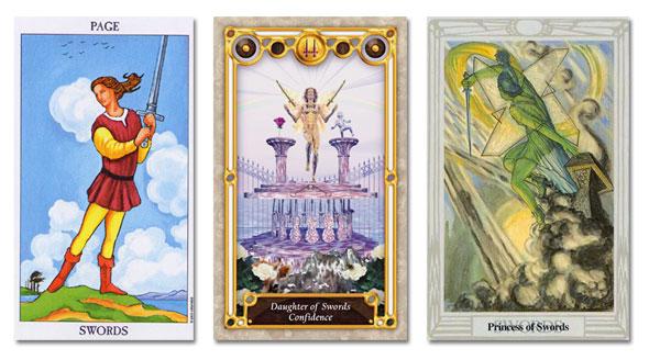 tarot court cards, page of swords, princess of swords, daughter of swords