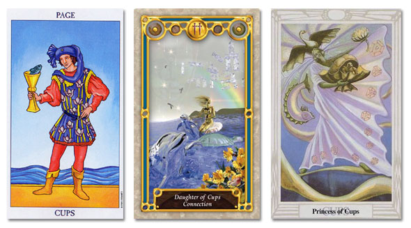 tarot court cards, page of cups, princess of cups, daughter of cups