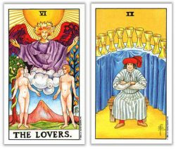 lovers and nine of cups