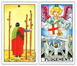 universal rider waite tarot three of wands and judgementt