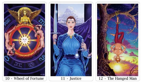 wheel of fortune, justice and hanged man from sacred isle tarot