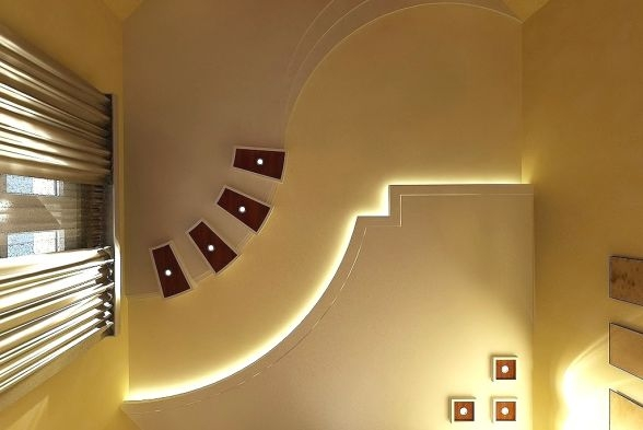 False Ceiling Design Ideas Images Inspirations Kraftivo | Ceiling Design For Stairs Area | Stairwell | Accent Lighting | Cake Shop | Cafeteria | L Shape