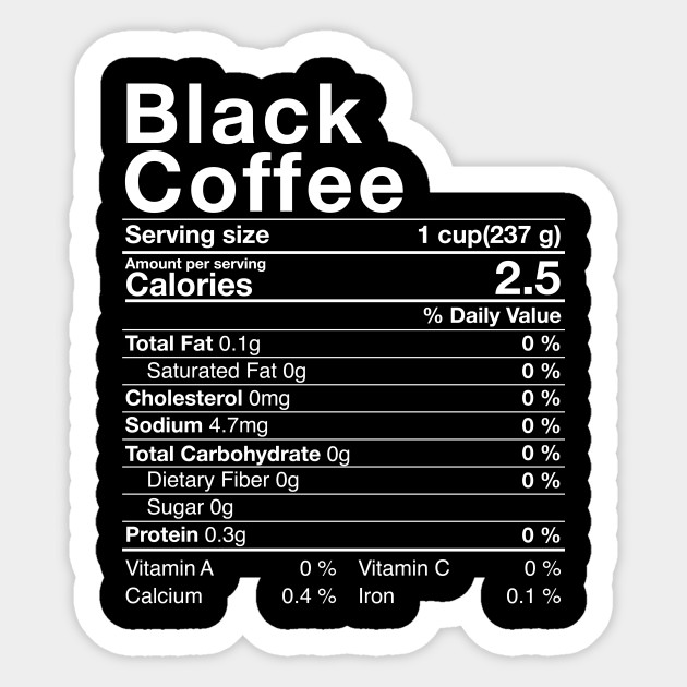 Black Coffee Nutritional Facts Costume Thanksgiving Gift ...