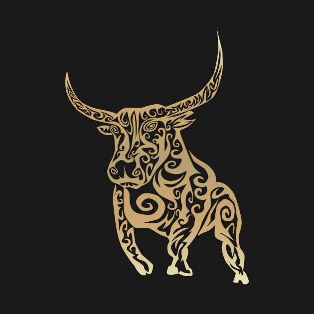 gold shiny tribal bull
