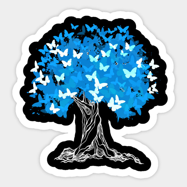 tree with blue butterflies