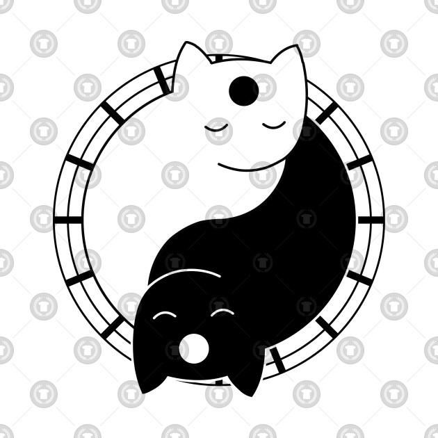 yoga cat yin yang